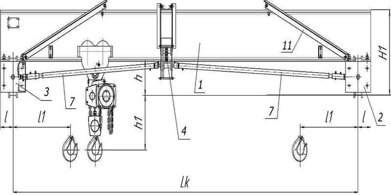 Что ручный мостовой кран схема